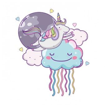 Unicorno su nuvole carini cartoni animati