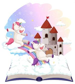 Unicorno sul modello di libro aperto