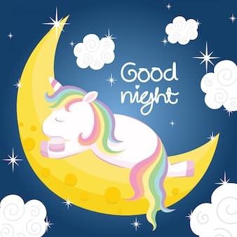 Unicorno sveglio che dorme sulla luna