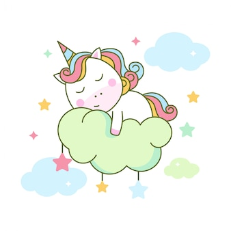 Unicorno sveglio che dorme sulla nuvola