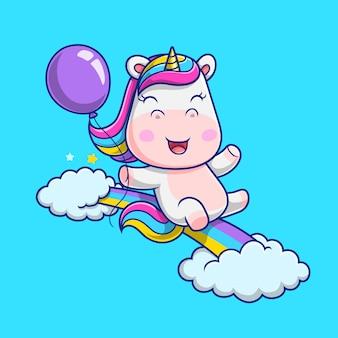 Unicorno sveglio che gioca nell'illustrazione dell'arcobaleno