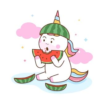 Unicorno sveglio che mangia anguria