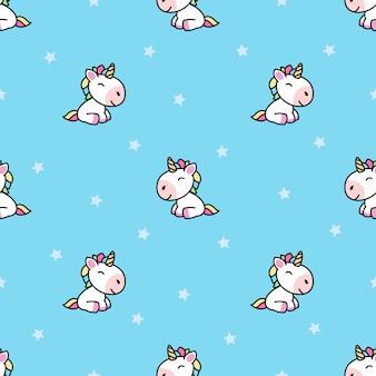 Unicorno sveglio che si siede e modello senza cuciture del fumetto sorridente
