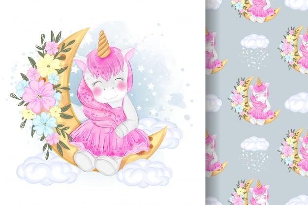 Unicorno sveglio che si siede sull'illustrazione del fiore della luna e sul modello senza cuciture