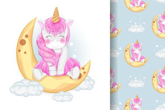 Unicorno sveglio che si siede sull'illustrazione della luna e sul modello senza cuciture