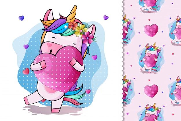Unicorno sveglio del bambino con cuore