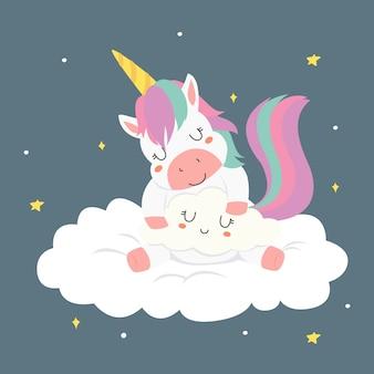 Unicorno sveglio di sonno che abbraccia un vettore della nuvola
