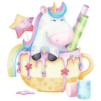 Unicorno sveglio in una tazza con l'illustrazione dell'acquerello dei dolci su bianco