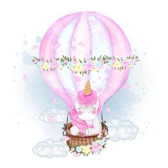 Unicorno sveglio su un'illustrazione dell'aerostato