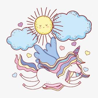 Unicorno volando con ali e sole con nuvole
