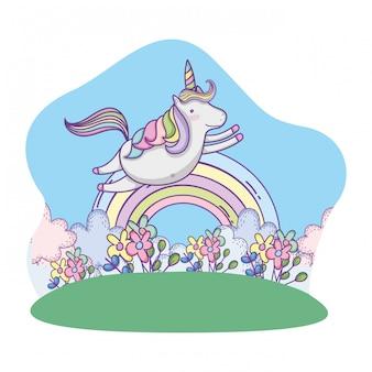 Unicorno volando sul paesaggio