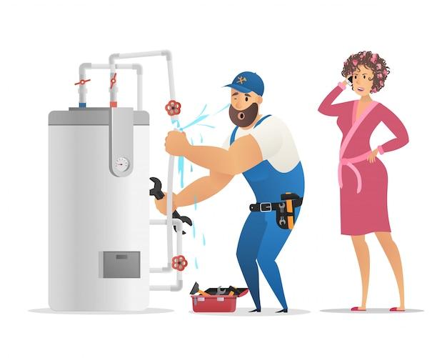 Uniforme blu di plumbing che elimina la caldaia di rottura