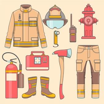 Uniforme da vigile del fuoco e primo equipaggiamento e strumenti per l'ausilio.