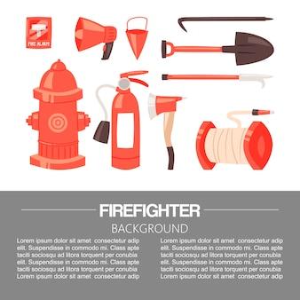 Uniforme del pompiere rosso e modello di attrezzature e strumenti di protezione