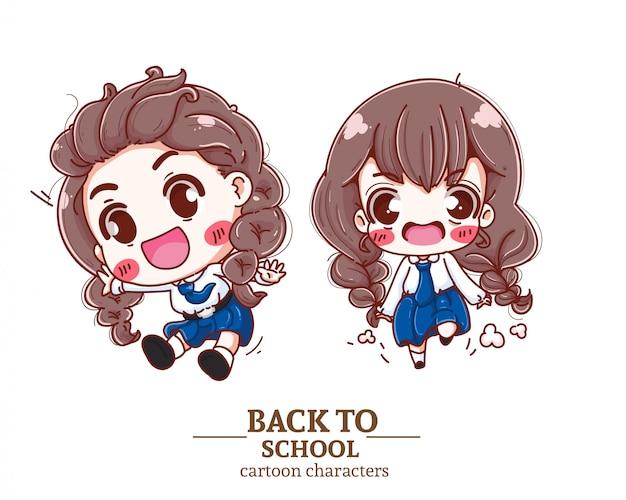 Uniforme dello studente dei bambini felici, sorridendo, di nuovo al logo dell'illustrazione della scuola.