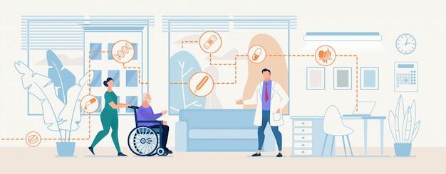 Uniforme femminile dell'infermiere porta la consultazione paziente dell'esame medico della sedia a rotelle del veterano anziano