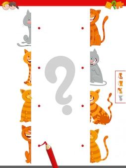 Unire le metà del gioco di attività delle immagini di gatti