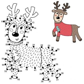 Unisci i punti e disegna un simpatico cervo. gioco di numeri per bambini. illustrazione