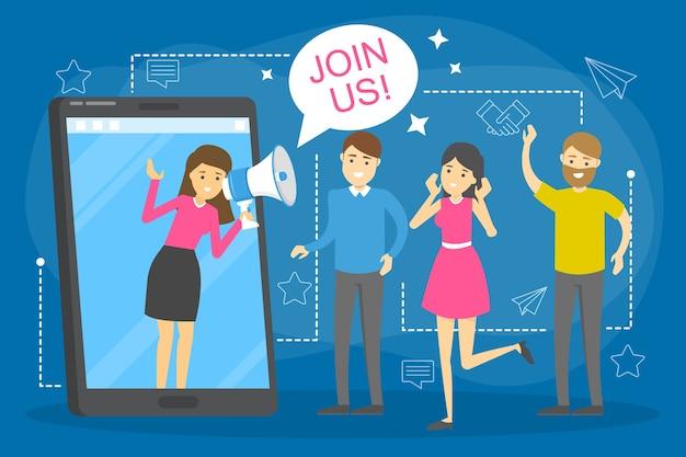 Unisciti a noi concetto. idea di reclutamento e ricerca dei dipendenti