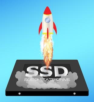 Unità a stato solido o ssd con un razzo a incremento di velocità