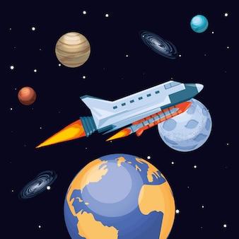 Universo e razzo spaziale