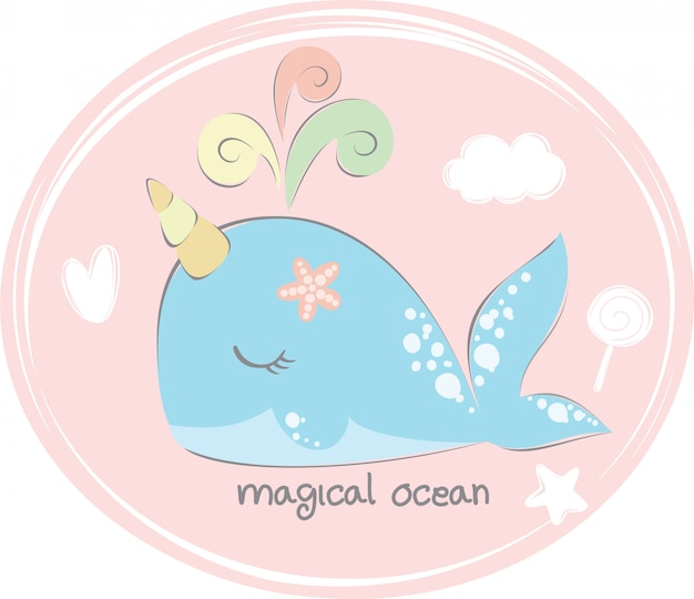 Uniwhale nell'oceano