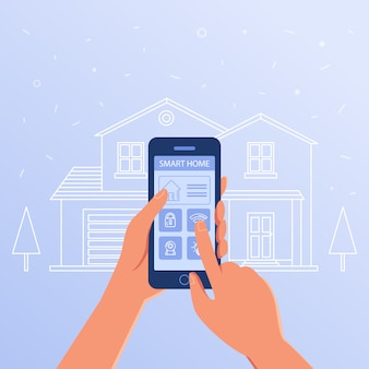 Uno smartphone con sistema di controllo e impostazioni della casa intelligente.