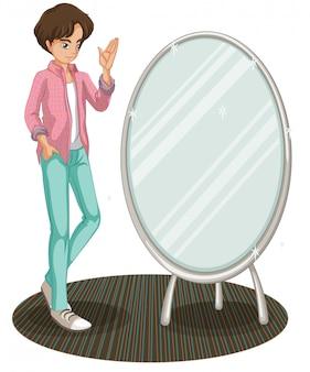 Uno specchio scintillante accanto a un giovane alla moda