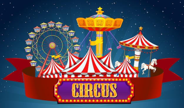 Uno striscione da circo sul cielo