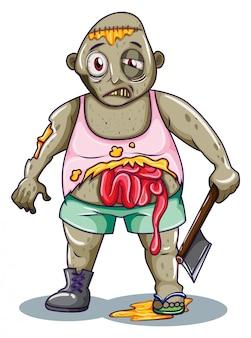 Uno zombi con in mano un'arma affilata