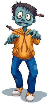 Uno zombi maschio spaventoso