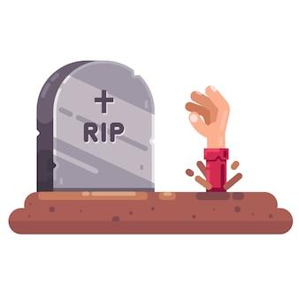 Uno zombi vivente si sta seppellendo dalla tomba. halloween festivo.