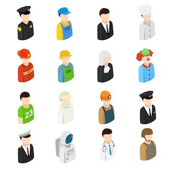 Uomini 3d isometrici di diverse professioni