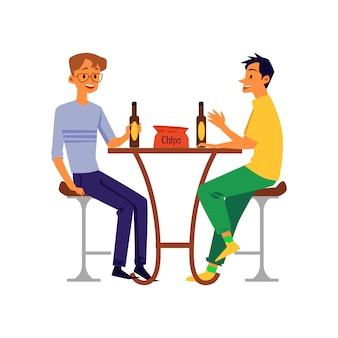 Uomini, amici o colleghi che bevono birra, illustrazione piana di vettore isolata.