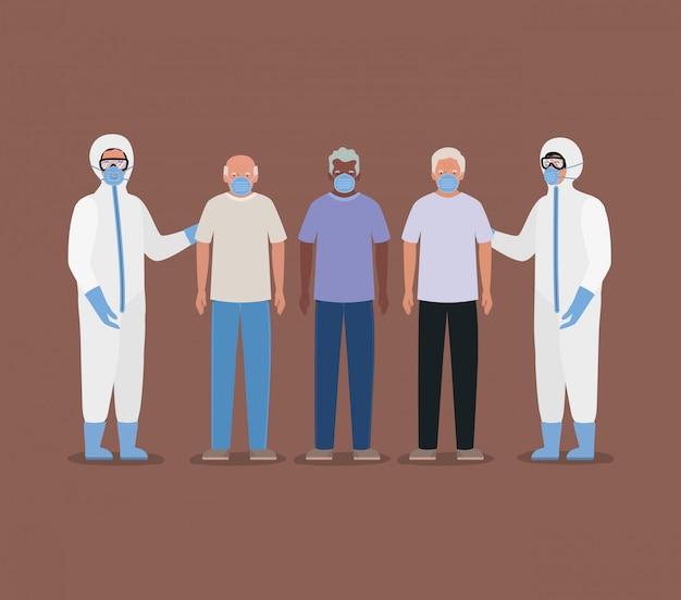 Uomini anziani con maschere e dottori con tute protettive contro il disegno di covid 19