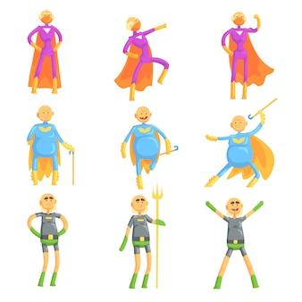 Uomini anziani divertenti in costume da superman, personaggi dei cartoni animati di supereroi in azione insieme di illustrazioni
