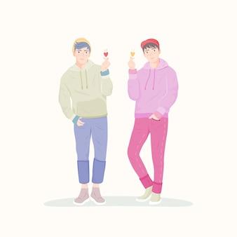 Uomini asiatici felici che fanno il cuore del dito, segno di amore. personaggio dei cartoni animati carino coreano.