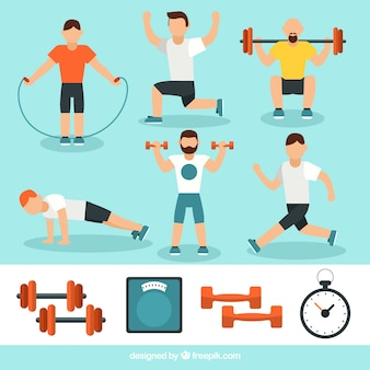 Uomini attivi facendo diversi esercizi fisici