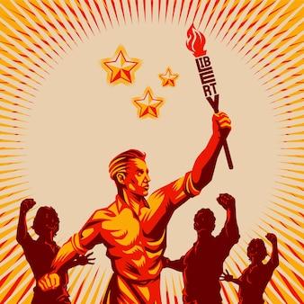 Uomini che alzano il pugno che tiene liberty torch vector illustration