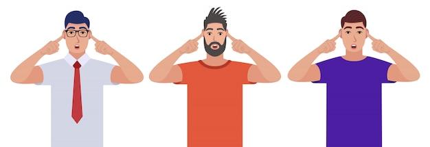 Uomini che coprono le orecchie con le dita con un'espressione infastidita per il rumore di suoni o musica ad alto volume mentre sono in piedi. gli uomini non vogliono ascoltare. set di caratteri.