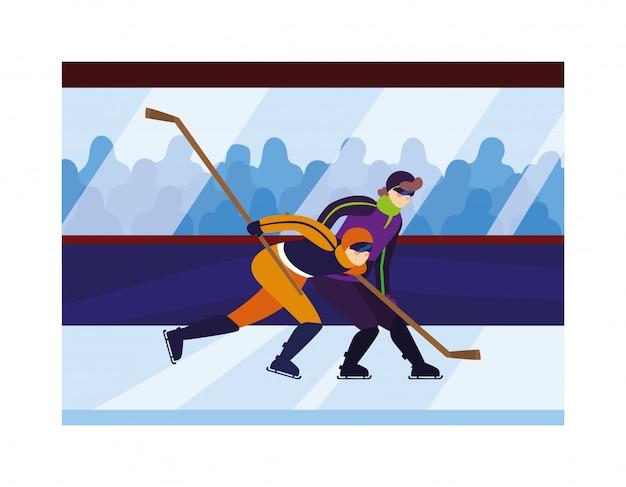 Uomini che giocano a hockey, giocatori di hockey con mazza da hockey, disco da hockey su ghiaccio