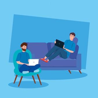Uomini che lavorano nell'illustrazione dei caratteri dell'avatar di telelavoro