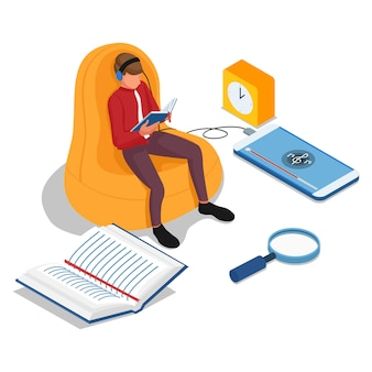 Uomini che leggono libri e ascoltano musica sui telefoni cellulari. concetto di illustrazione elearning. vettore