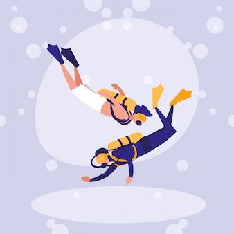 Uomini che praticano il personaggio di avatar subacqueo