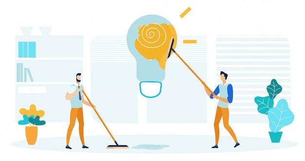 Uomini che puliscono la lampadina del pavimento e della pittura dell'ufficio.