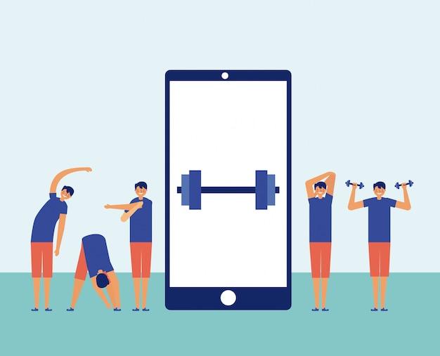 Uomini che si esercitano con uno smartphone nel centro, concetto online di forma fisica