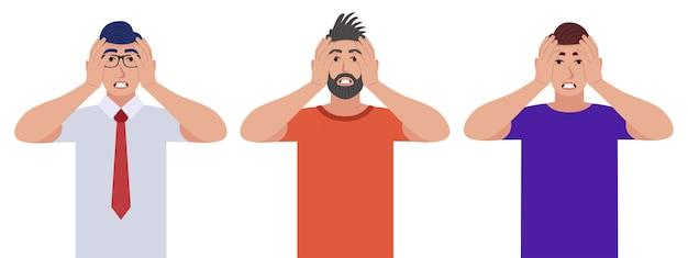 Uomini che stringono la testa con le mani. emozioni e concetto di linguaggio del corpo. concetto di stress, tensione ed emicrania. set di caratteri.