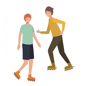 Uomini con carattere avatar pattini a rotelle
