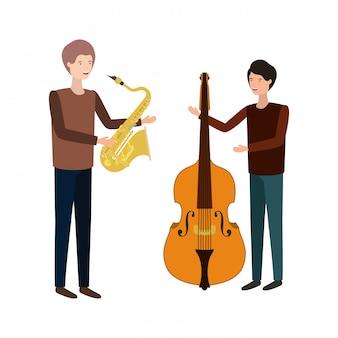 Uomini con carattere di strumenti musicali