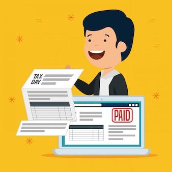 Uomini con documento fiscale di servizio e laptop